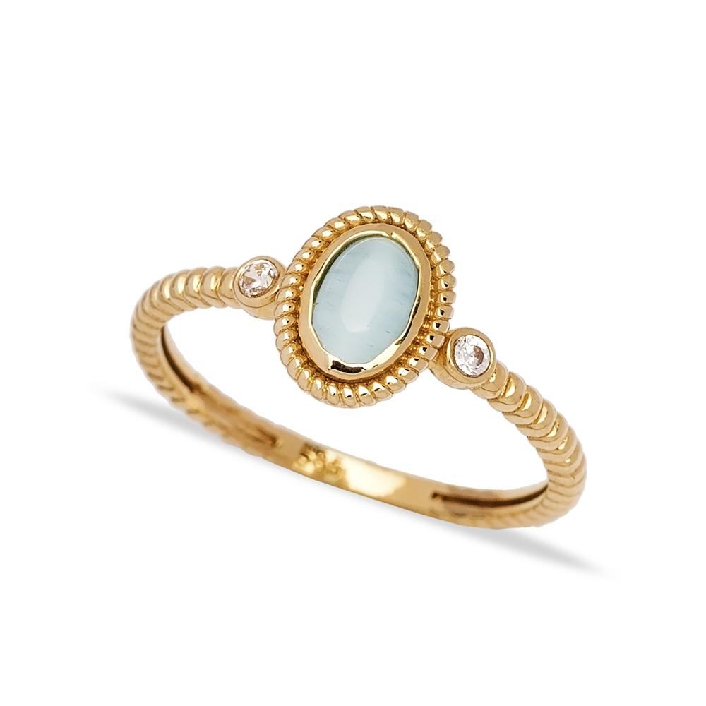 14k Solid Gold Oval Moon Stone Ring Wholesale Handmade Turkish Gold Jewelry