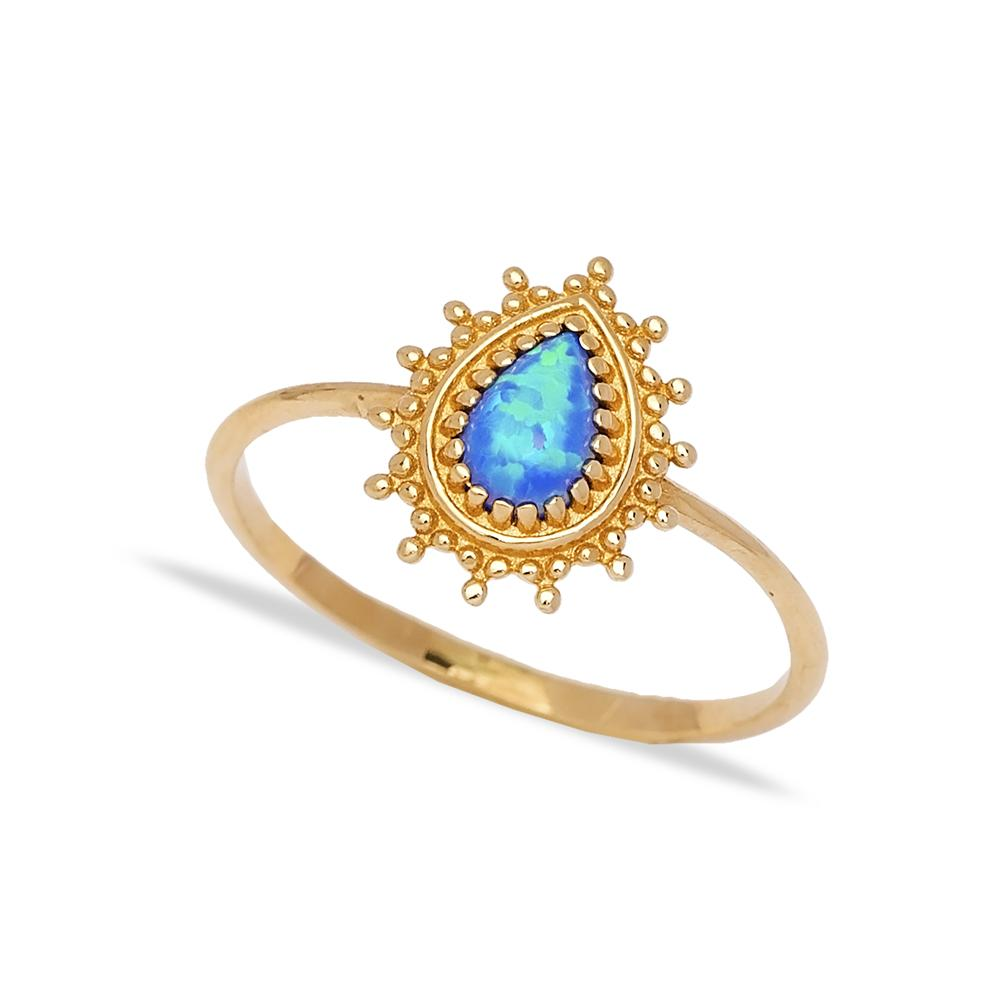 14k Solid Gold Pear Blue Opal Stone Ring Wholesale Handmade Turkish Gold Jewelry
