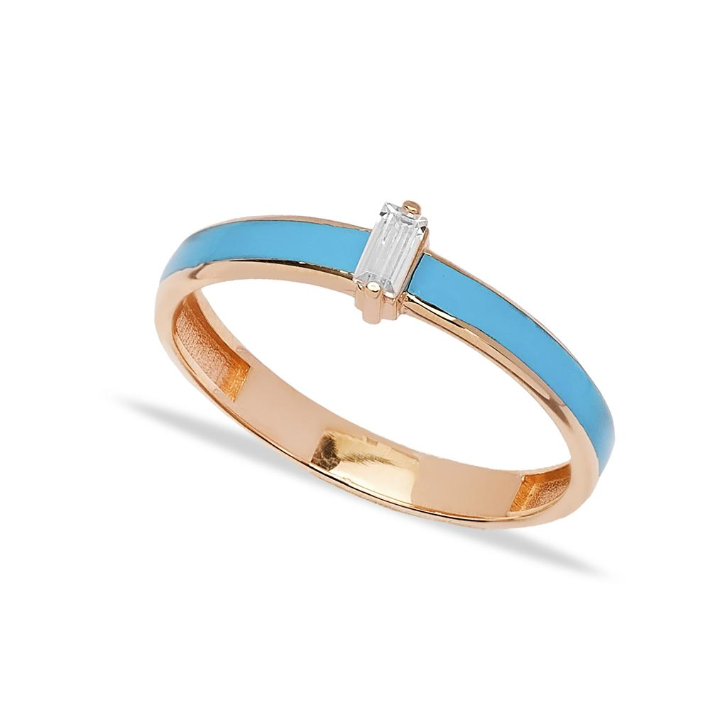 14k Solid Gold Blue Enamel Band Ring Wholesale Handmade Turkish Gold Jewelry