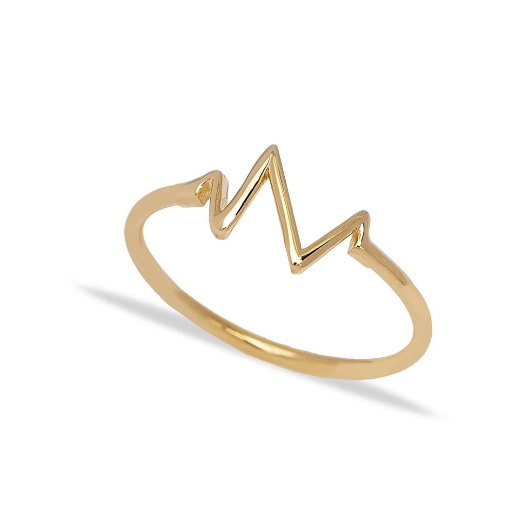14k Solid Gold Wave Band Ring Wholesale Handmade Turkish Gold Jewelry