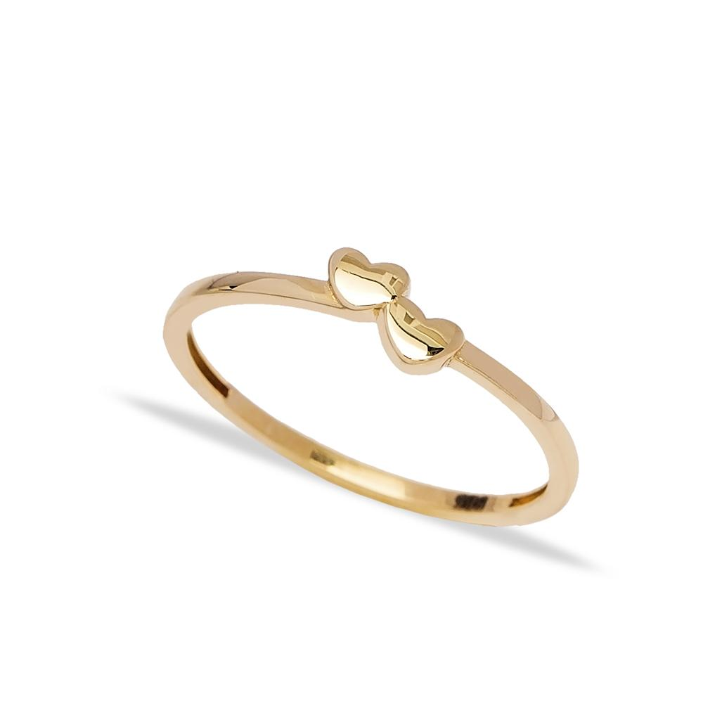14k Solid Gold Hearts Ring Wholesale Handmade Turkish Gold Jewelry