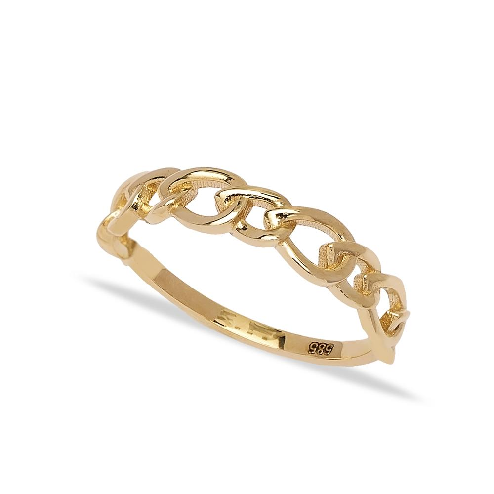 14k Solid Gold Band Curb Design Ring Wholesale Handmade Turkish Gold Jewelry