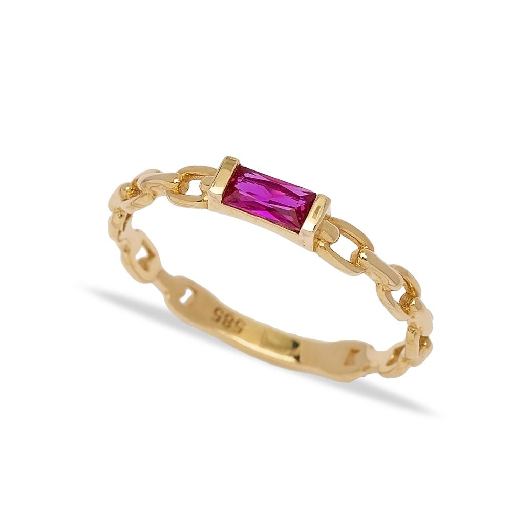 14k Solid Gold Ruby Stone Ring Wholesale Handmade Turkish Gold Jewelry