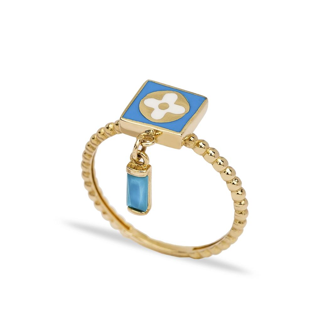 14k Solid Gold Square Shape Dangle Ring Wholesale Handmade Turkish Gold Jewelry
