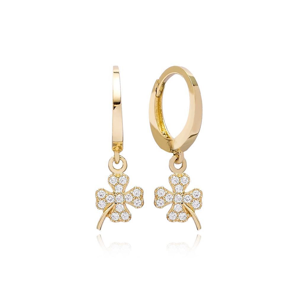 Clover Charm Hoop Earring Wholesale Turkish 14k Gold Earrings