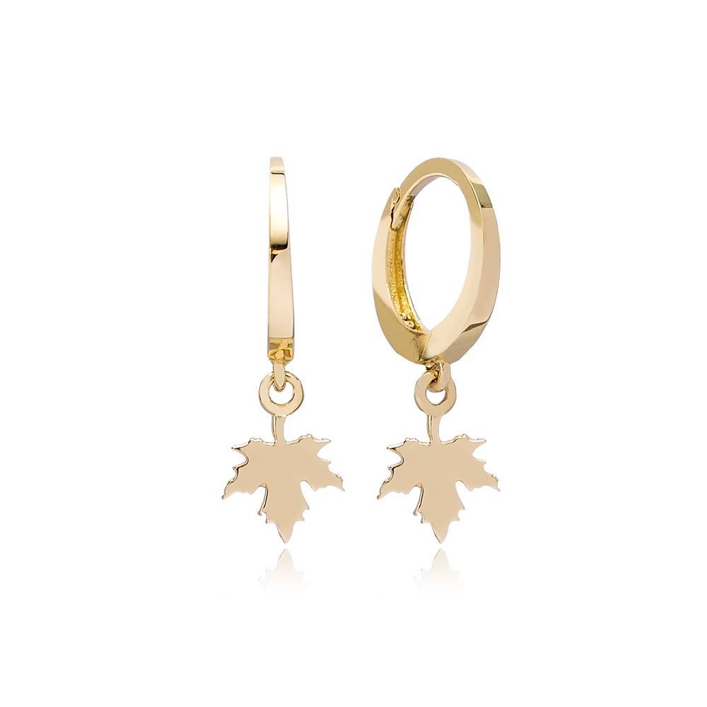 Maple Leaf Charm Hoop Earring Wholesale Turkish 14k Gold Earrings