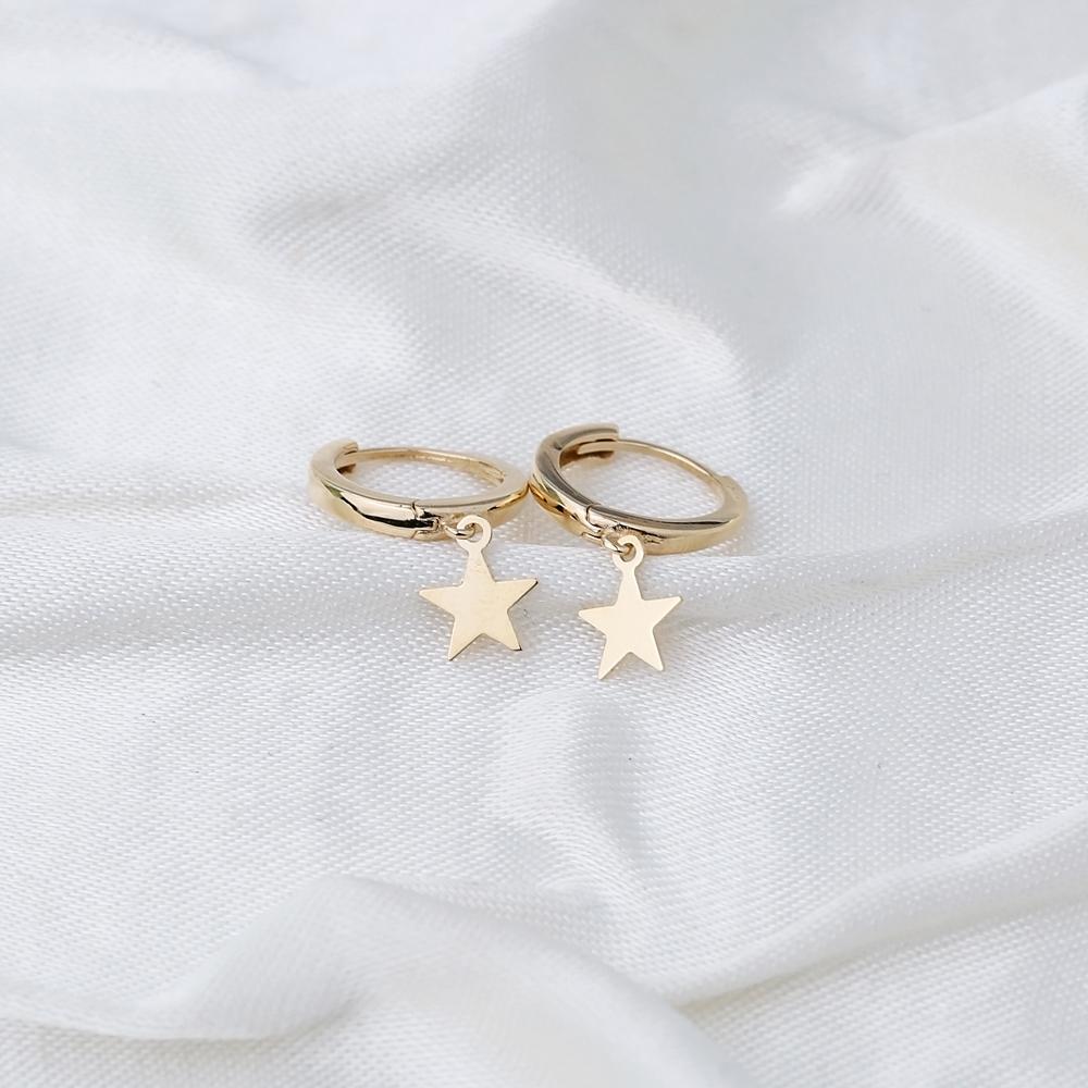 Star Charm Hoop Earring Wholesale Turkish 14k Gold Earrings