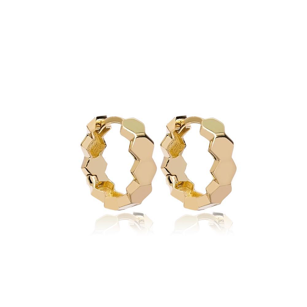 Hexagon Hoop Earring Wholesale Turkish 14k Gold Earrings