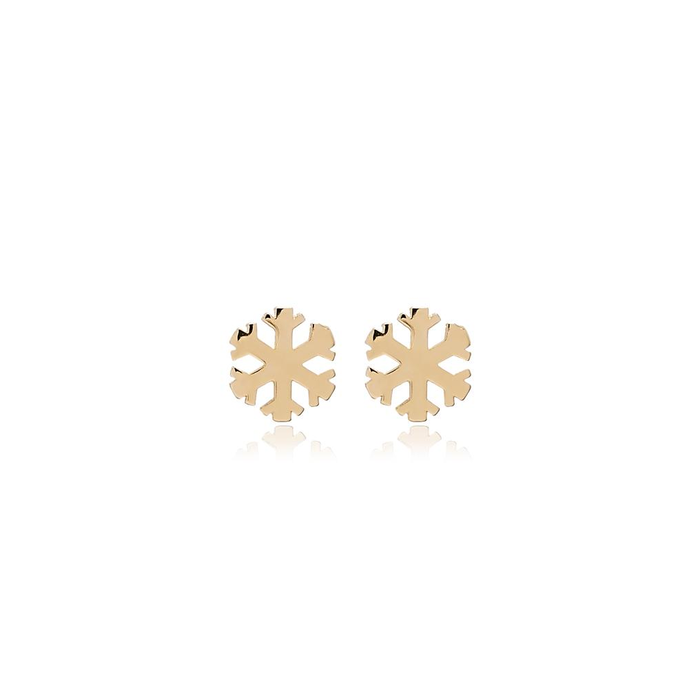 Snowflake Stud Earring Wholesale Turkish 14k Gold Earrings