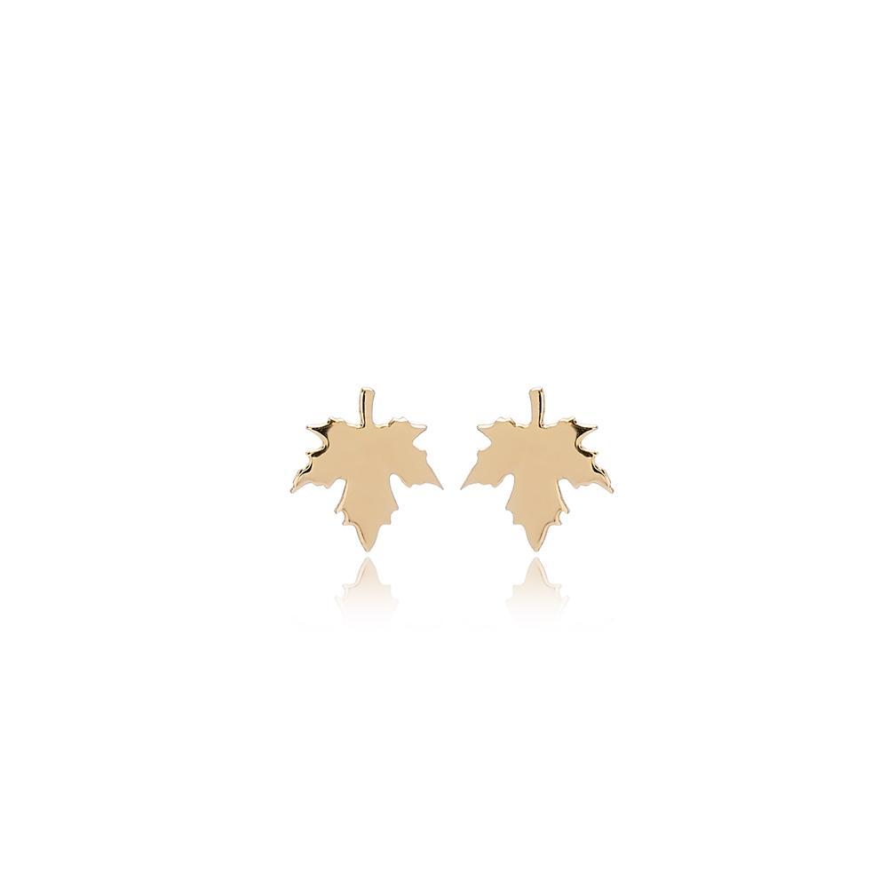 Maple Leaf Stud Earring Wholesale Turkish 14k Gold Earrings