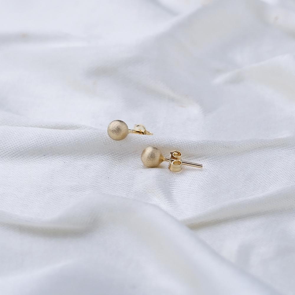 Matt Ball Stud Earring Wholesale Turkish 14k Gold Earrings