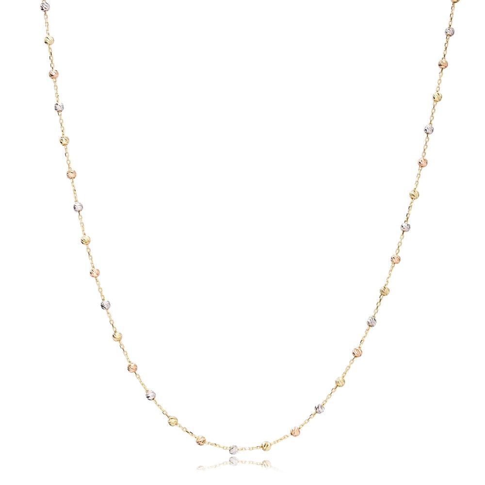 14K Rose, Yellow And White Gold Beaded Chain Jewelry