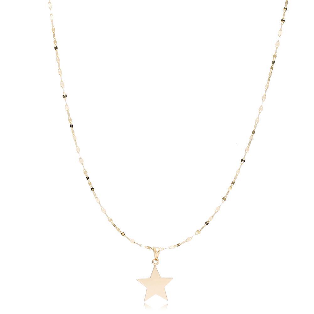14K Gold Star Charm Decorative Chain Pendant