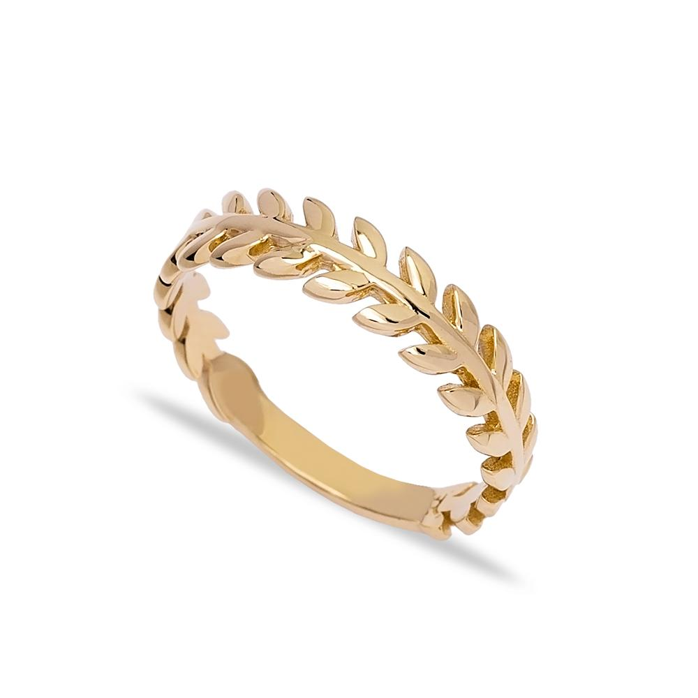 14k Solid Gold Band Leaf Ring Wholesale Turkish Gold Jewelry
