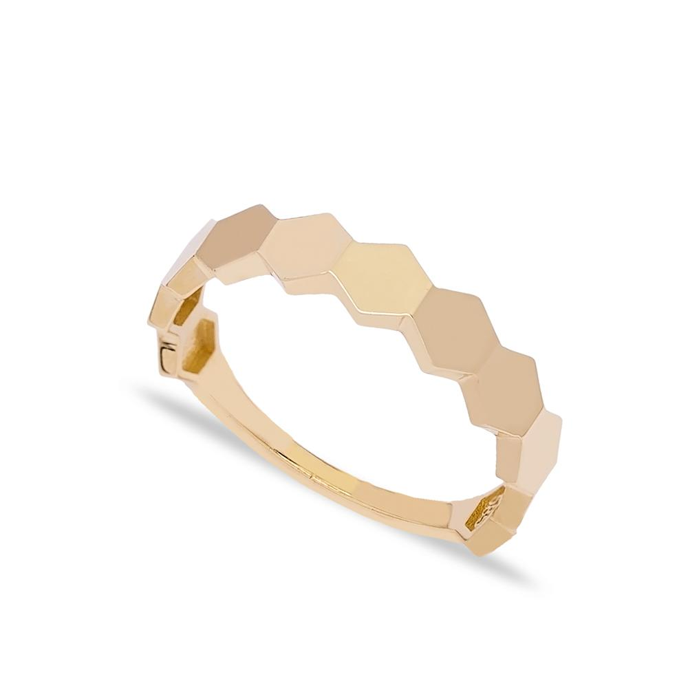 14k Solid Gold Band Hexagon Chain Ring Turkish Gold Jewelry