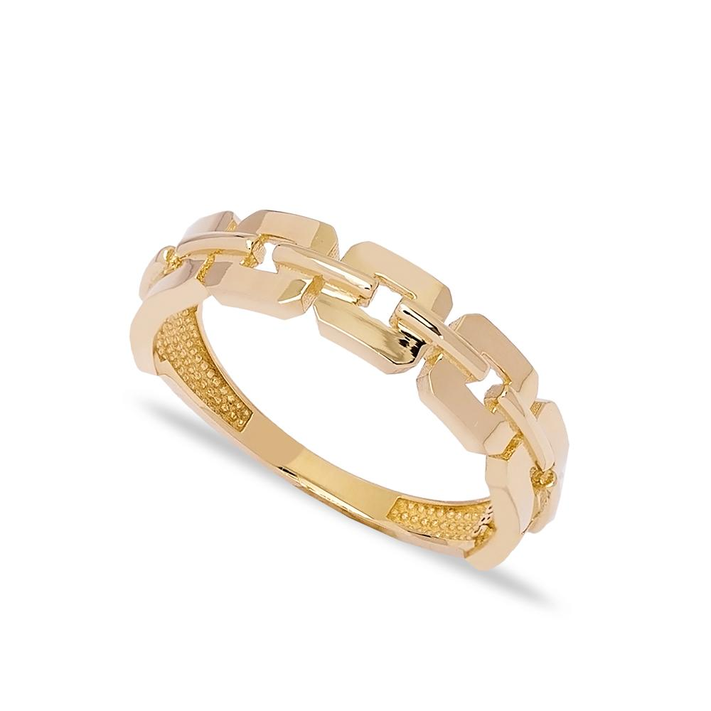 14k Solid Gold Band Flat Link Chain Ring Turkish Jewelry