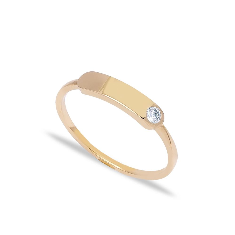14k Solid Gold Band Zircon Stone Ring Turkish Jewelry