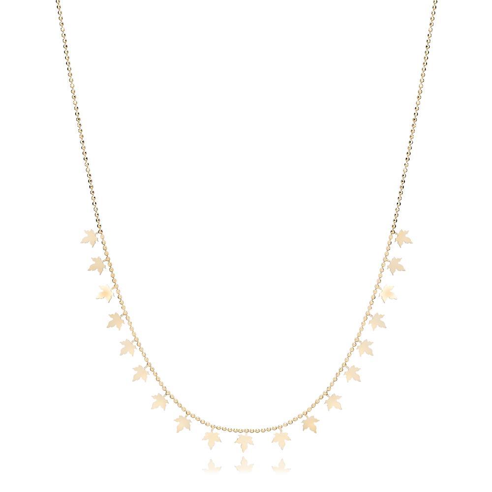14K Gold Maple Leaf Shaker Pendant Turkish Wholesale Gold Jewelry