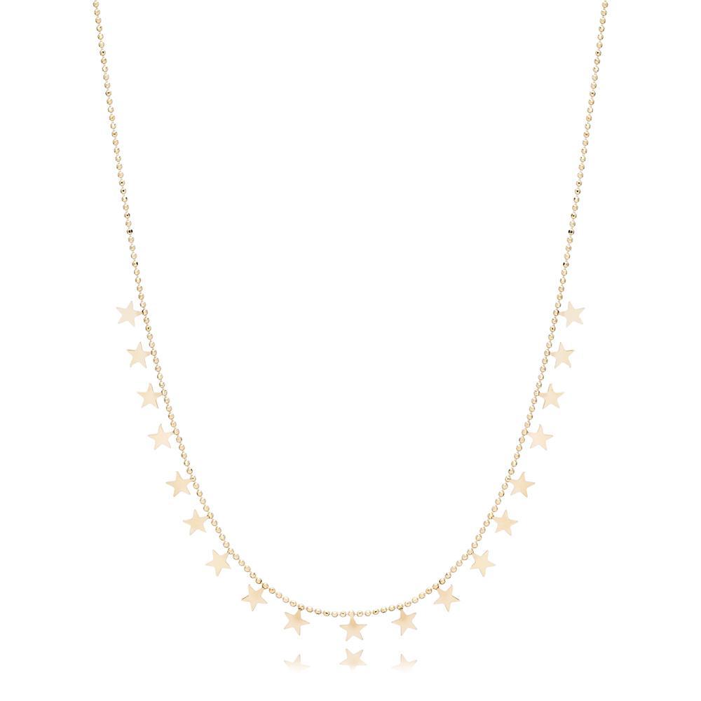 14K Gold Star Shaker Pendant Turkish Wholesale Gold Jewelry