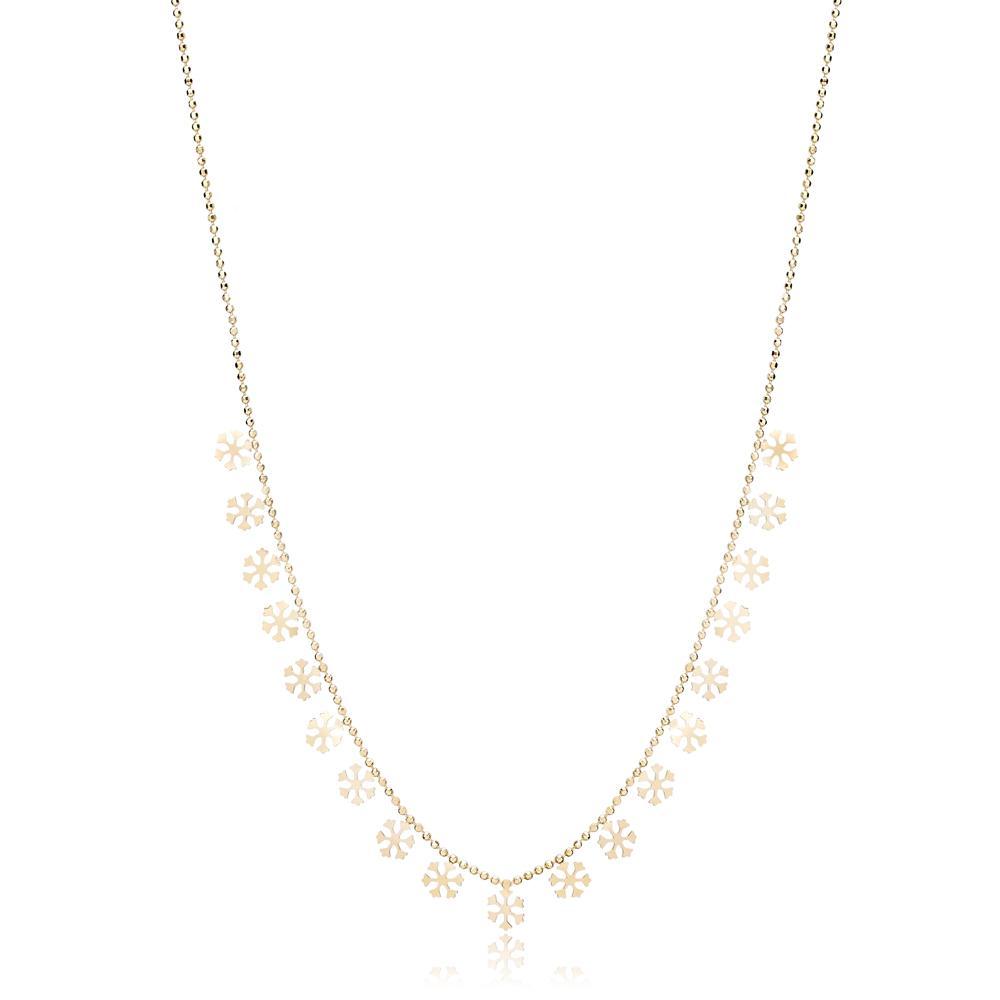 14K Gold Snowflake Shaker Pendant Turkish Wholesale Gold Jewelry