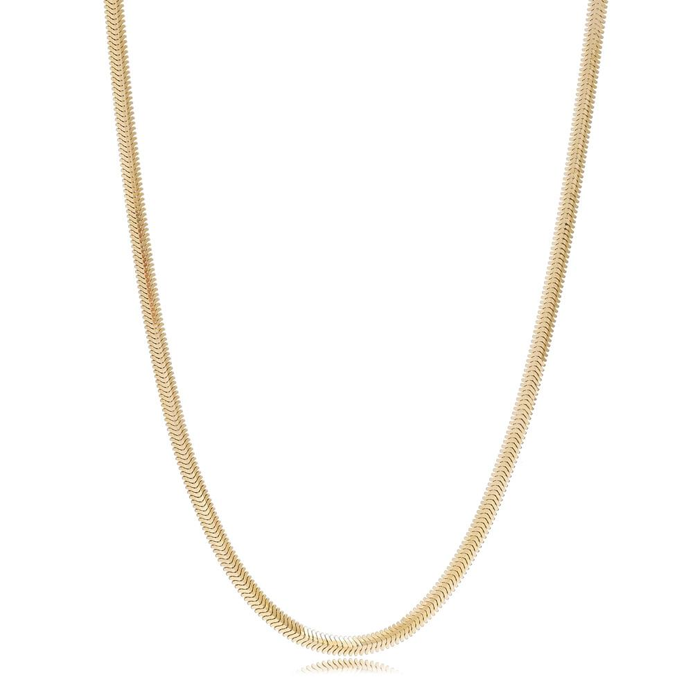 14K Gold 3.30 mm Flat Sneak Necklace Turkish Wholesale Gold Jewelry