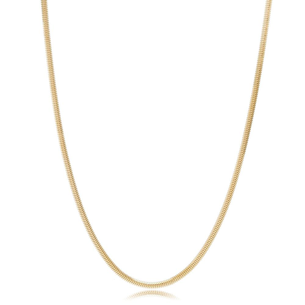 14K Gold 2.40 mm Round Sneak Necklace Turkish Wholesale Gold Jewelry
