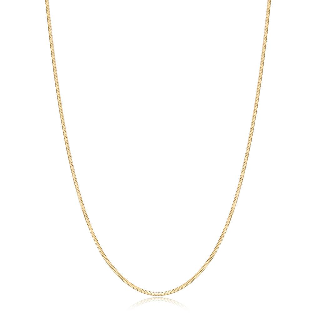 14K Gold 1.30 mm Round Sneak Necklace Turkish Wholesale Gold Jewelry
