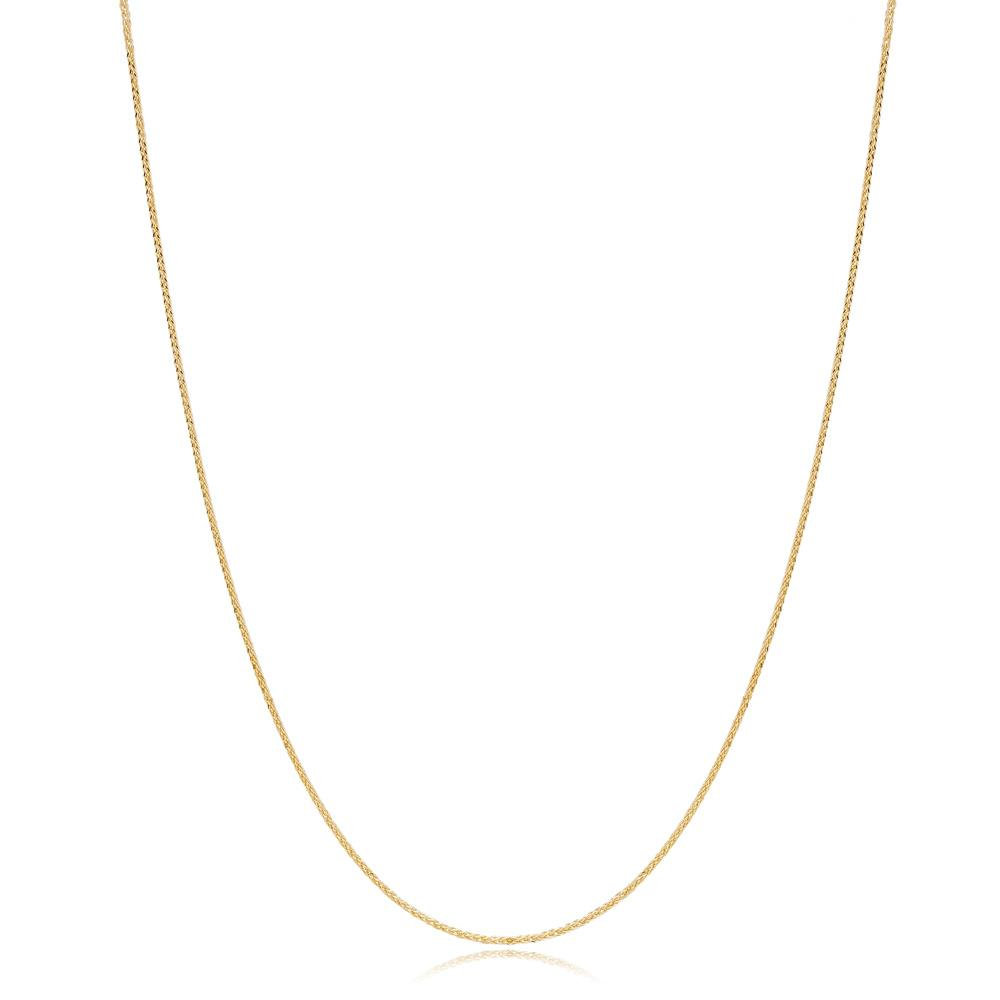 14K Gold 0.90 mm Foxtail Necklace Turkish Wholesale Gold Jewelry
