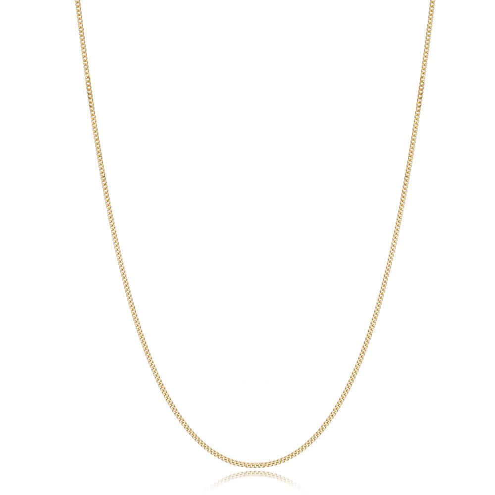 14K Gold 1.20 mm Curb Necklace Turkish Wholesale Gold Jewelry