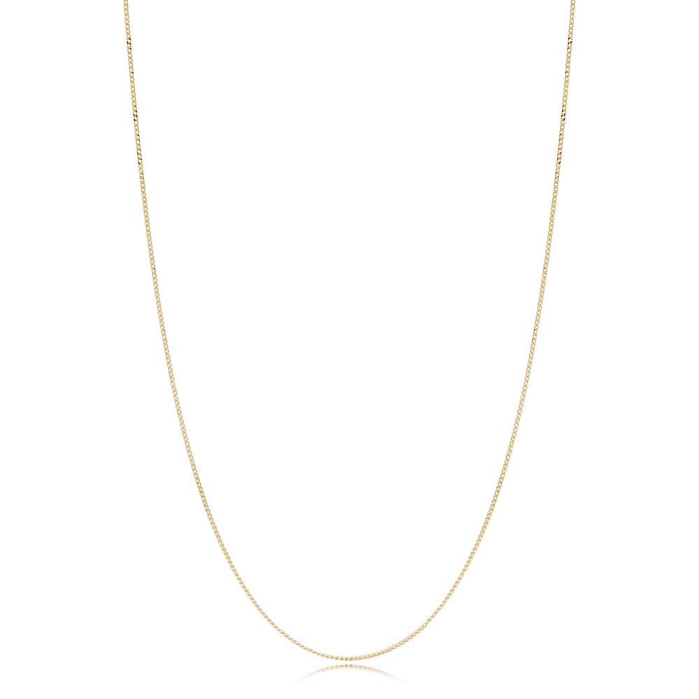 14K Gold 0.70 mm Curb Necklace Turkish Wholesale Gold Jewelry