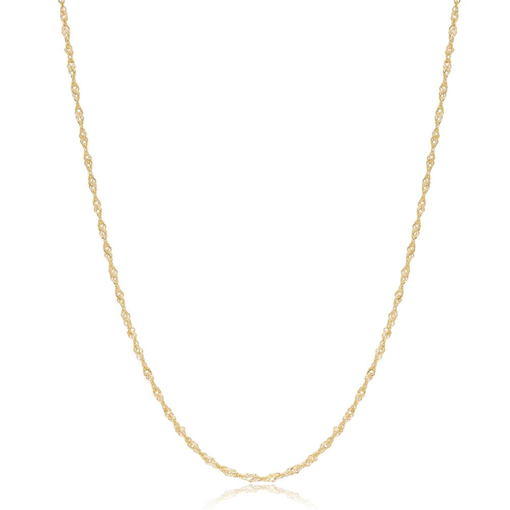 14K Gold 1.95 mm Singapore Necklace Turkish Wholesale Gold Jewelry