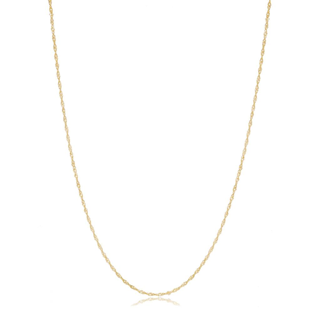 14K Gold 1.20 mm Singapore Necklace Turkish Wholesale Gold Jewelry