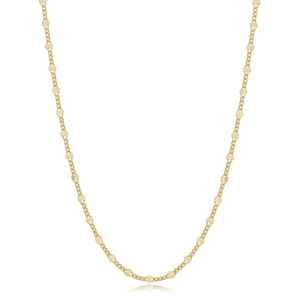 14K Gold Trendy Curb Necklace Turkish Wholesale Gold Jewelry