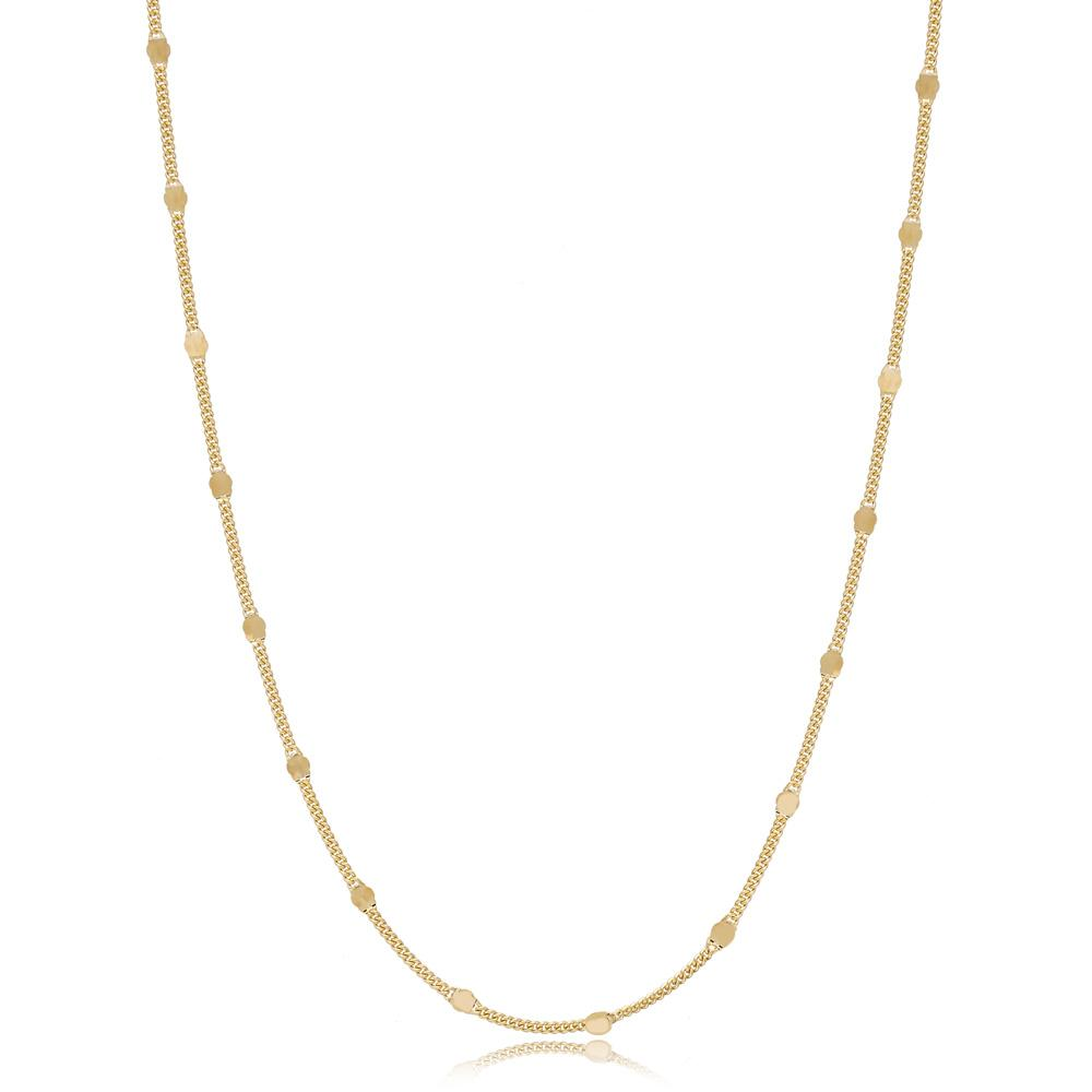 14K Gold Curb with Sequin Necklace Turkish Wholesale Gold Jewelry