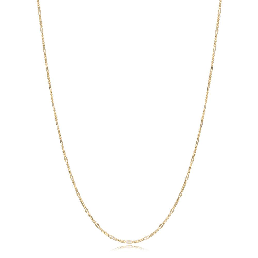 14K Gold Fashion Curb Necklace Turkish Wholesale Gold Jewelry