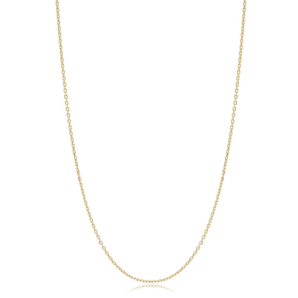 14K Gold 0.80 mm Forse Necklace Turkish Wholesale Gold Jewelry