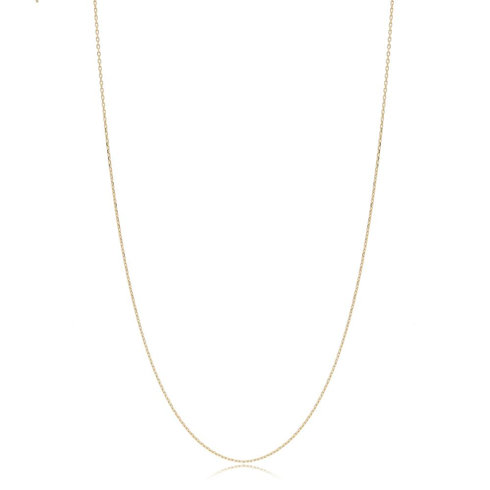 14K Gold 0.50 mm Forse Necklace Turkish Wholesale Gold Jewelry